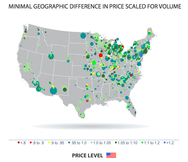 US map price levels geographically